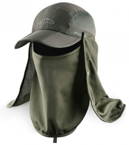 Ellewin Outdoor Hiking Hat with Removable Mesh Face Neck Flap