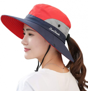 Muryobao Women's Outdoor UV Protection Foldable Mesh Hat with Wide Brim